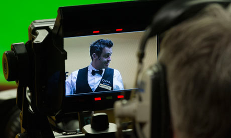 Ronnie O'Sullivan seen on a TV camera filming his first-round match with Marcus Campbell