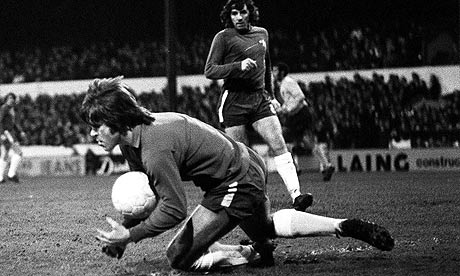Chelsea defender David Webb goes in goal against Ipswich in 1971