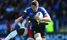 The Leinster captain, Jamie Heaslip, breaks through to score his second try against Biarritz