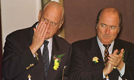 Joao Havelange and Joseph Blatter attend a Fifa congress together in 1996