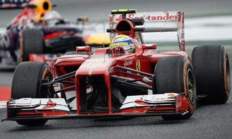 Red Bull's Sebastian Vettel ahead of Ferrari's Felipe Massa during  Spanish F1 Grand Prix practice