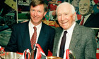 Alex Ferguson And Sir Matt Busby With European Trophies - Manchester United