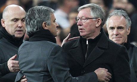 José Mourinho, left, and Sir Alex Ferguson
