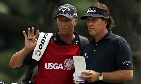 Phil Mickelson with his caddie Jim 'Bones' Mackay at the US Open