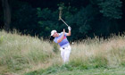 Sergio García hits out of the rough on 12th hole during his US Open third round