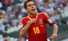 Jordi Alba of Spain celebrates after scoring