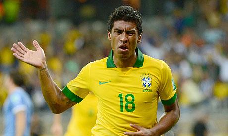 Brazil's midfielder Paulinho celebrates