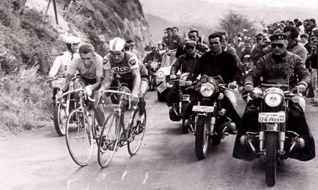 Jacques Anquetil, left, and Raymond Poulidor duel for the lead on the Puy-de-Dôme back in 1964