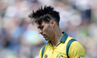 Australia's Mitchell Johnson during the Champions Trophy match against England