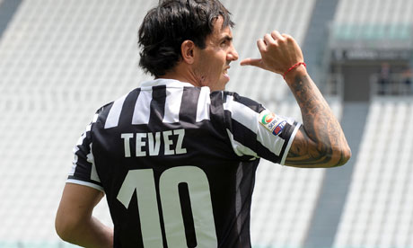 Carlos Tevez poses in his new Juventus kit