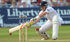 Ian Bell plays a late cut on the third day of the first Ashes Test between England and Australia