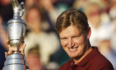 Ernie Els celebrates after winning the Open Championship at Muirfield in 2002.