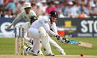 Stuart Broad sweeps, England v Australia, first Test day three