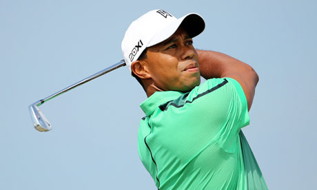 Tiger Woods during a practice round at Muirfield on Sunday