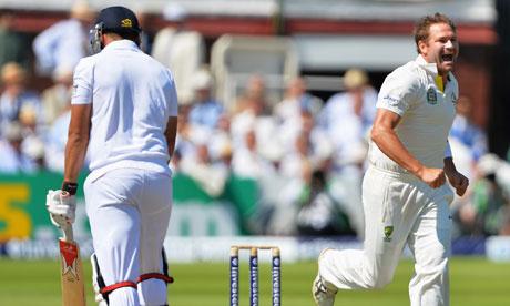 Ryan Harris celebrates the wicket of Tim Bresnan