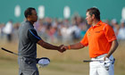 Tiger Woods and Lee Westwood at the Open
