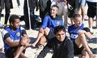 Manchester United's Anderson, Robin van Persie, Rafael da Silva and Tom Cleverley on Bondi