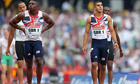 Great Britain's Harry Aikines-Aryeetey (left) and Adam Gemili after the men's 4x100m relay