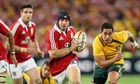 Leigh Halfpenny leads a Lions counterattack during the Test against Australia