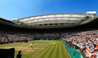 Andy Murray plays a forehand on Centre Court during his Wimbledon singles final