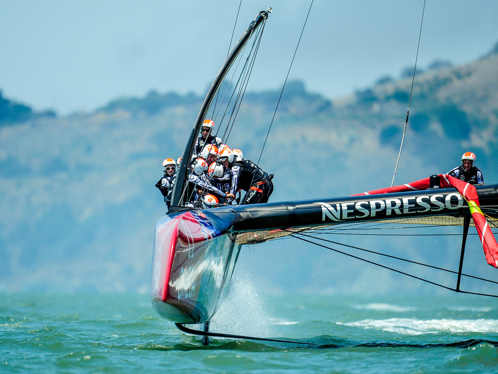 Emirates Team New Zealand with skipper Dean Barker during a training session in San Francisco, prior to The Louis Vuitton Cup, which is part of the America's Cup Challenger Series and used to determine who will race the defender in the America's Cup finals
