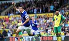 Everton's Seamus Coleman celebrates his goal against Norwich City in the Premier League