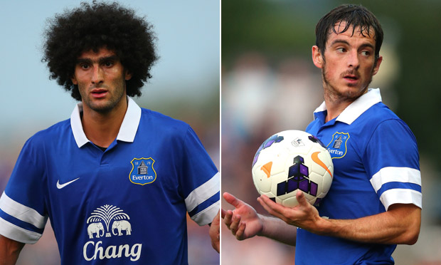 Marouane Fellaini and Leighton Baines