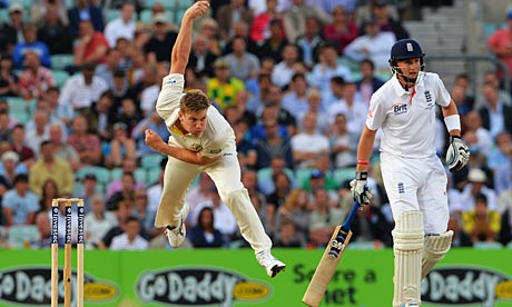 James Faulkner bowls at Alastair Cook.