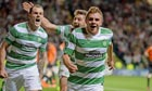 James Forrest of Celtic celebrates after scoring the winning goal