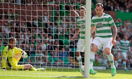 Celtic striker Anthony Stokes scores