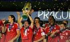Bayern Munich celebrate with the Super Cup