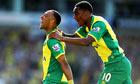 Norwich City's Nathan Redmond, left, celebrates scoring against Southampton in the Premier League