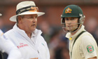 Australia's captain Michael Clarke speaks to umpire Marais Erasmus