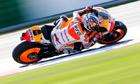 Honda MotoGP rider Dani Pedrosa of Spain takes a curve