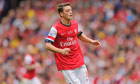 The midfielder Mesut Özil had a hand in all three Arsenal's goals against Stoke City
