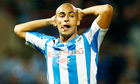 Huddersfield's James Vaughan against Blackpool