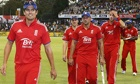 Alastair Cook leads his victorious England team off the field