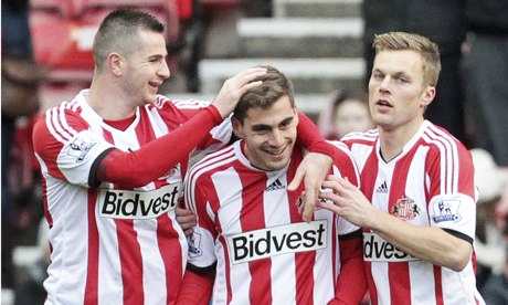 Sunderland's Charis Mavrias, centre, scored against Kidderminster at the Stadium of Light