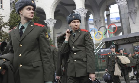 Russian army soldiers outside Sochi airport ahead of the city hosting the Winter Olympics
