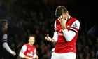 Olivier Giroud had found it difficult to score against the top Premier League sides.