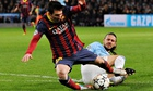 Martín Demichelis brings down Lionel Messi to concede the game-changing penalty.