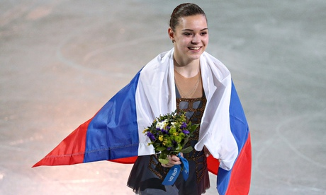 Russia's Adelina Sotnikova celebrates her gold-medal victory in the women's figure skating.