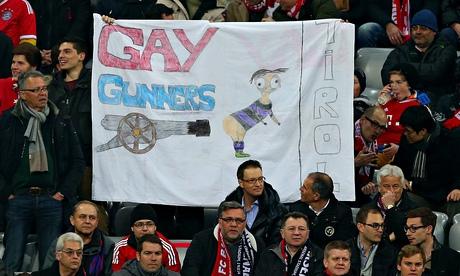 Bayern Munich homophobic Arsenal banner