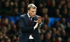 David Moyes, the Manchester United manager, signals to his team from the technical area.