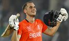 England's Alex Hales milks the applause after reaching his century.