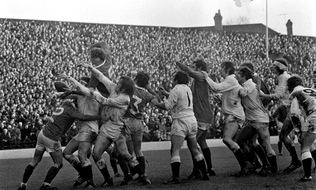 Ireland and England compete at a lineout during the home team's 18-9 win in Dublin in February 1973