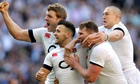 England's Danny Care, centre, celebrates his try with  Joe Launchbury, Dylan Hartley and Mike Brown.