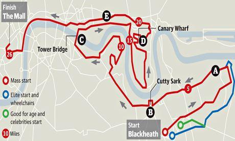 2014 London Marathon map
