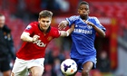 Manchester United's Guillermo Varela tries to keep