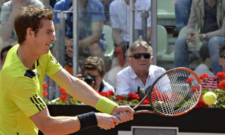 Andy Murray returns the ball during his straight-sets victory over Jurgen Melzer in Rome.